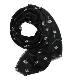 Armani Jeans Black Floral Logo Scarf