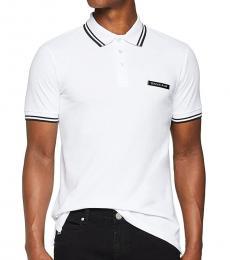 Versace Jeans White Pique Logo Polo