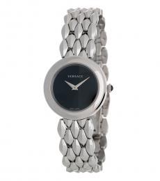 Versace Silver Black Dial Watch