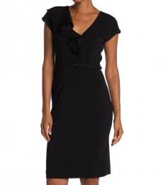 Kate Spade Black Ruffle Matte Crepe Dress