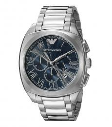 Emporio Armani Silver Dress Blue Dial Watch
