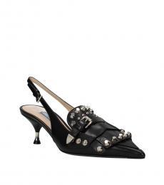Prada Black Fringes Slingback Heels