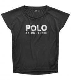 Ralph Lauren Little Girls Black Metallic Logo Interlock T-Shirt