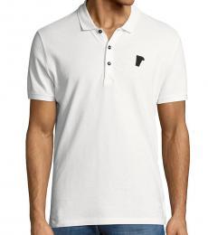 Versace Collection White Logo Patch Polo