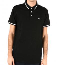 Emporio Armani Black Pique Slim Polo