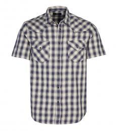 Diesel Light Blue Short Sleeve Check Shirt