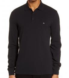 Black Slim Fit Long Sleeve Pique Polo