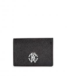 Roberto Cavalli Black Crest Leather Flap Wallet