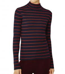 Tory Burch Navy Blue Striped Ribbed Turtleneck Sweater