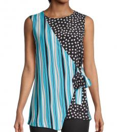 Diane Von Furstenberg Blue Striped Asymmetrical Wrap Top