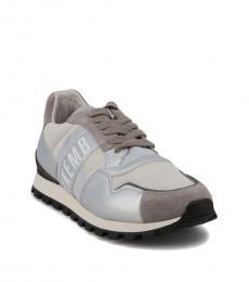 Bikkembergs Silver Grey Logo Sneakers