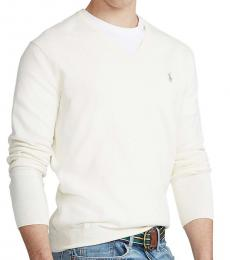 Ralph Lauren Off White Cotton V-Neck Sweater