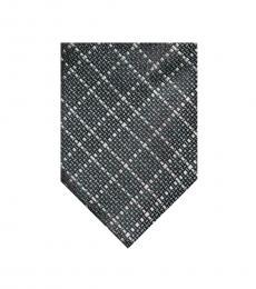 Tom Ford Dark Grey Silver Tonal Grid Tie