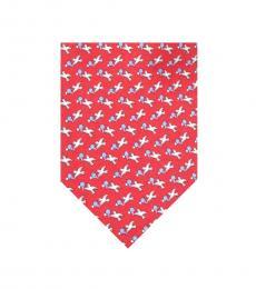 Salvatore Ferragamo Red Seagulls Print Tie