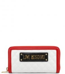 Love Moschino Black/White Logo Quilted Wallet
