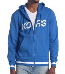Michael Kors Royal Blue Slant Logo Hoodie Jacket