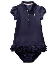 Ralph Lauren Baby Girls French Navy Cupcake Dress