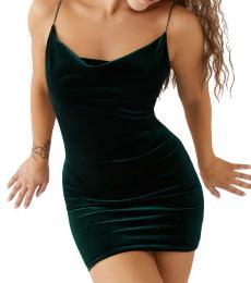 Green Snake Velvet Mini Dress
