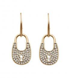 Michael Kors Gold Crystal Padlock Earrings