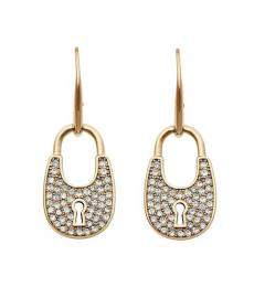 Michael Kors Gold Crystal Padlock Earrings