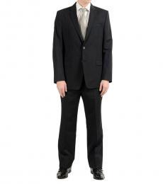 Versace Collection Grey Wool Striped Two Button Suit