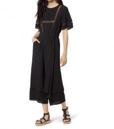 Michael Kors Black Lace-Trim Crepe Jumpsuit