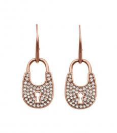 Michael Kors Rose Gold Crystal Padlock Earrings