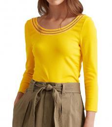 Ralph Lauren Yellow Cotton Elbow-Sleeve Top