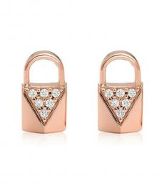 Michael Kors Rose Gold Lock Stud Earrings
