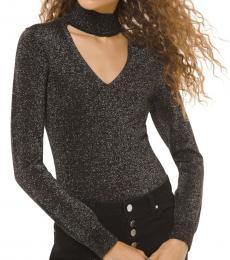 Black Metallic Knit Cutout Sweater