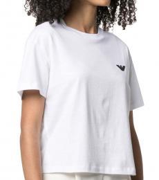 Emporio Armani White Logo-Print Cotton T-Shirt
