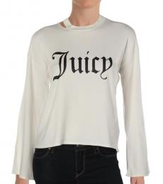 Juicy Couture Bleached Bone Logo Crew Neck Sweater