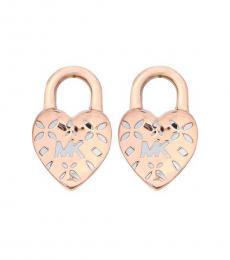 Michael Kors Rose Gold Logo Heart Lock Stud Earrings