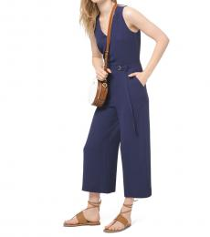 Navy Blue Stretch-Crepe Belted Jumpsuit