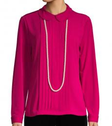Dark Pink Faux Pearl Necklace Pleated Top