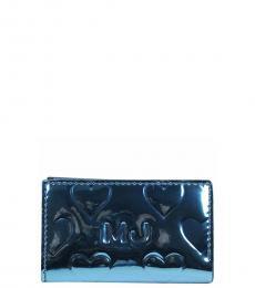 Marc Jacobs Blue Mirror Heart ID Card Case