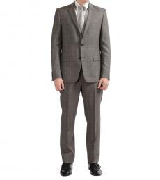 Versace Collection Grey Wool Plaid Suit