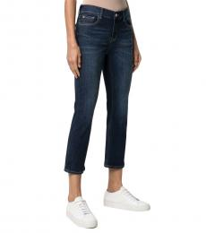 Emporio Armani Navy Blue Stretch-Cotton Cropped Jeans