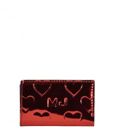 Marc Jacobs Red Mirror Heart ID Card Case