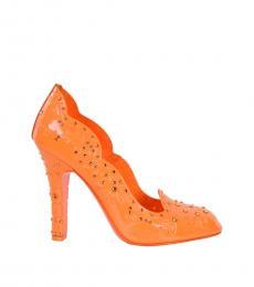 Dolce & Gabbana Orange Cinderella Rhinestones Pumps