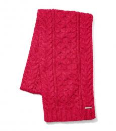Raspberry Cable Knit Scarf