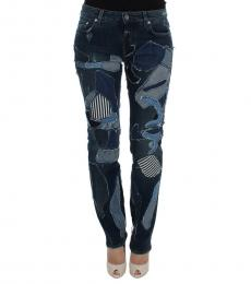 Dark Blue Patchwork Jeans