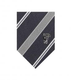 Versace Grey Striped Modish Tie