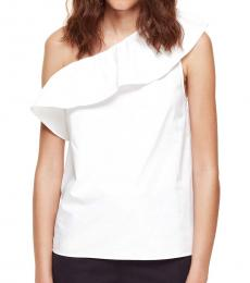 Fresh White One Shoulder Top