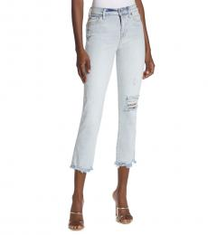 7 For All Mankind Sky Blue Edie High-Rise Straight Jeans