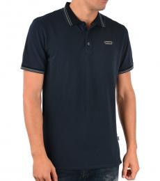 Just Cavalli Blue Stretch Cotton Polo