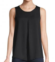 BCBGMaxazria Black Pleated Sleeveless Top