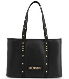 Love Moschino Black Studded Strap Large Tote
