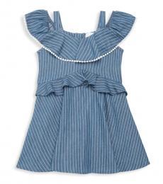 BCBGirls Little Girls Indigo Striped Ruffle Dress