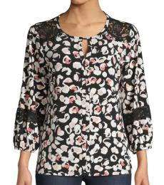 Karl Lagerfeld Black Floral Lace-Trimmed Top